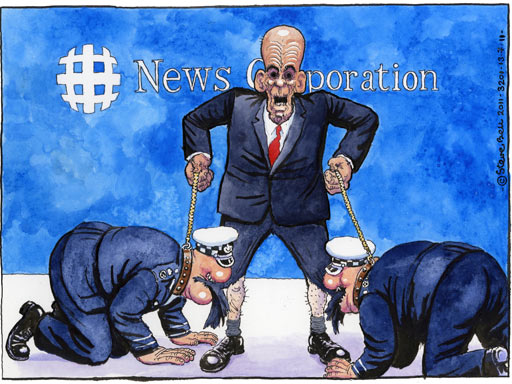 Rupert Murdoch corrupting British police, cartoon by Stevev Bell