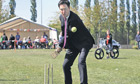 Ed Miliband playing cricket