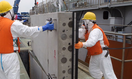 Workers at the Fukushima Daiichi nuclear power plant