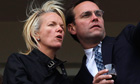 Elisabeth Murdoch talks to her brother James Murdoch at Cheltenham Festival in Gloucestershire