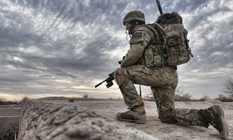 A British paratrooper in Helmand province, Afghanistan