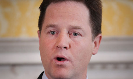 Nick Clegg speaking at Admiralty House