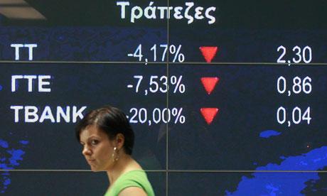 Greek bank stocks fall