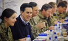Ed Miliband with British soldiers