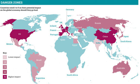 map of economic danger zone countries