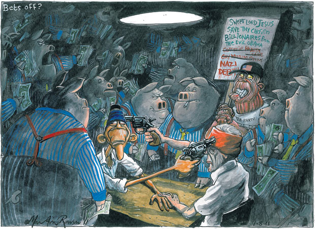 Martin Rowson cartoon on the US debt ceiling negotiations - Barack Obama and John Boehner's slow-moving attempt to find a compromise