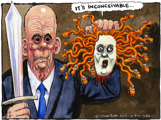 Steve Bell on Rupert Murdoch, Rebekah Brooks and phone hacking