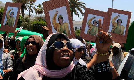 Libyan women chant at a pro-Gaddafi rally in Green Square in Libya's capital, Tripoli
