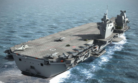 A computer-generated image of an aircraft carrier planned for the Royal Navy