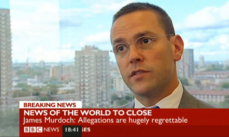 James Murdoch announcing the closure of the News of the World