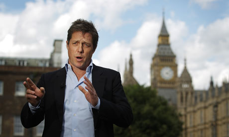 Hugh Grant outside parliament