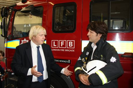 Boris Johnson at Stoke Newington fire station
