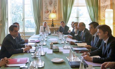 President Sarkozy chairing his 'emergency' cabinet meeting last week.