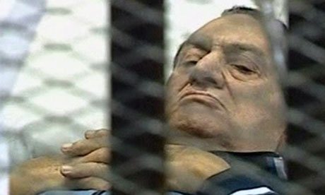 Hosni Mubarak on trial in Cairo on 15 August 2011.