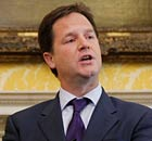 Deputy Prime Minister Nick Clegg speaks to the media in London