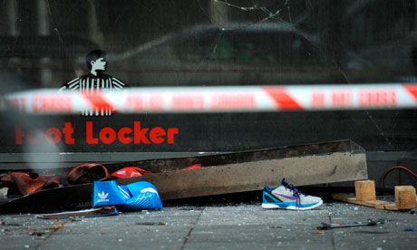 Debris outside Foot Locker in Brixton, south London
