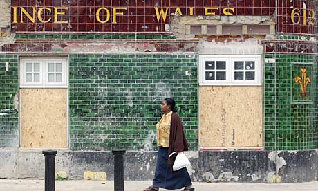 Tottenham's Prince of Wales pub is boarded up a week after the riots started in north London