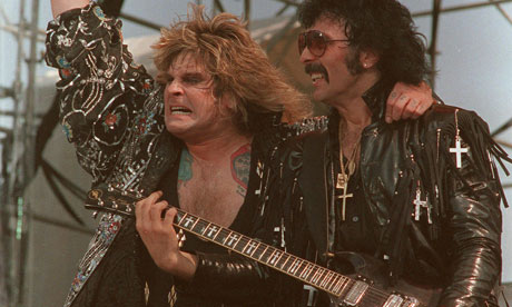 Ozzy Osbourne and Tony Iommi performing in Black Sabbath in 1985. Photograph: Rusty Kennedy/AP