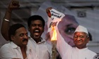Anna Hazare burns anti-corruption legislation
