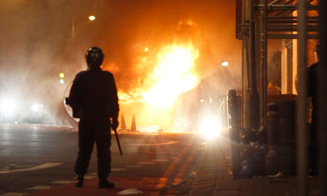 A police officer during the Tottenham riots
