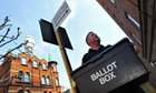 A ballot box is delivered to a polling station in London on May 4, 2011.