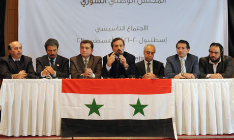 Syrian dissidents opposed to Bashar al-Assad give a press conference in Istanbul