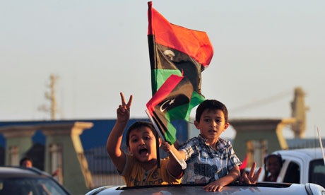 Libyan children in Benghazi celebrate the rebels' entry into Tripoli