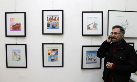 Syrian cartoonist Ali Ferzat, at his Damascus gallery