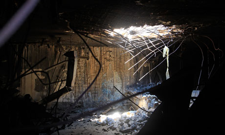 Damage caused by Nato bombing in Bab Al-Aziziya