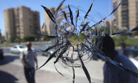 A broken window in Tripoli on 25 August 2011.