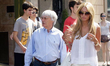 Petra Ecclestone and her father Bernie Ecclestone leave a hotel in Rome