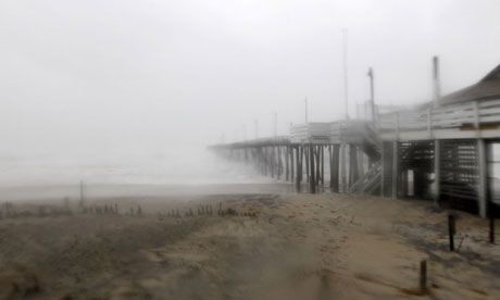Hurricane Irene hits the pier at Cape Hatteras National Seashore in Rodanthe