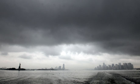 Hurricane Irene: panorama of New York skyline