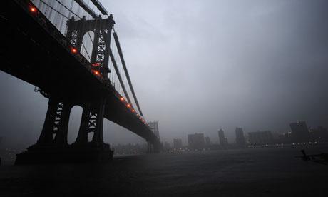View from Manhattan Bridge as New York is hit by Hurricane Irene