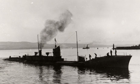 K4, one of the submarines sunk in the Isle of May debacle, pictured in harbour