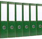 Six green ring binders
