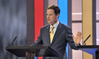 Nick Clegg takes part in a televised election debate, 2010