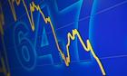 A television monitor showing a drop in Hong Kong's benchmark Hang Seng Index