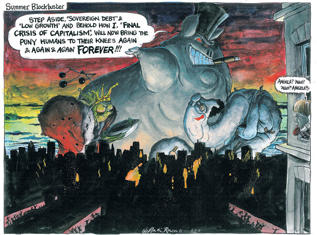 Martin Rowson cartoon on the final crisis of capitalism European and North American stock markets are at their most volatile since the 2008 collapse of Lehman Brothers