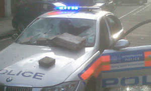Vandalised police car in Enfield