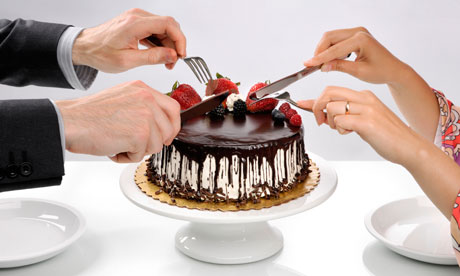 Couple sharing chocolate cake