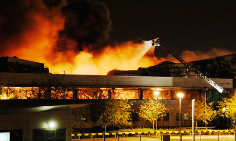 Fire destroys a Sony warehouse in Enfield, north London,  August 9, 2011