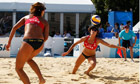 2012 Olympic beach volley test event, with Zhang Xi, Xue Chen