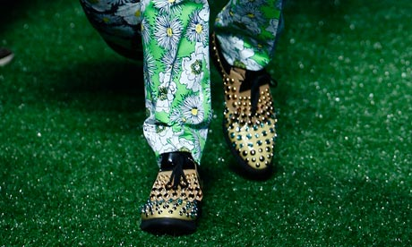 Rhinestone golf shoes on the Prada srping/summer 2012 catwalk.