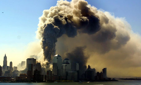 Smoke rises over New York on 11 September 2001