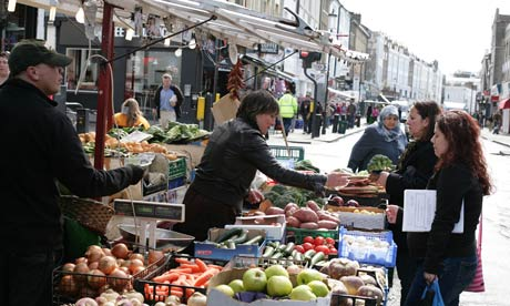 A fruit and vegetable stall on Portobello Road