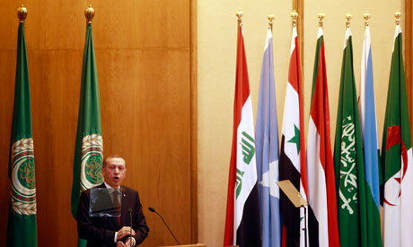 Turkey's prime minister Recep Tayyip Erdogan speaks to the Arab League in Cairo on 13 September 2011