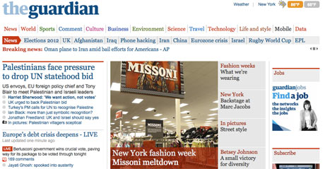 The new Guardian US homepage