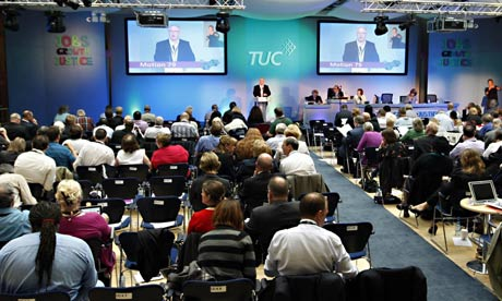 Delegates at the TUC conference. Many unions are balloting on action over pension reforms