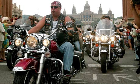 Harley-Davidson riders gathering in the Plaza de Espana, Barcelona, to celebrate the company's 100th anniversary. Photograph: Cesar Rangel/AP
